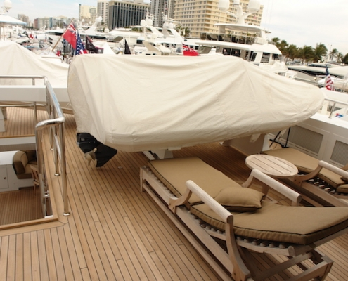 Tanzanite Flybridge Aft Bridge Deck Before - Innovative Creations