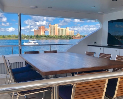 Tanzanite Aft Bridge Deck Covered Dining After - Innovative Creations